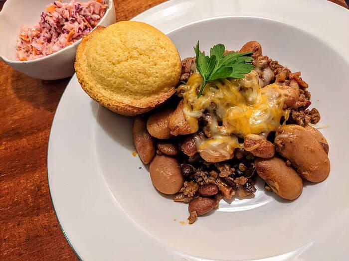 Calico beans, corned bread, cole slaw