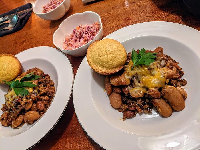 Calico beans, corned bread, cole slaw 2