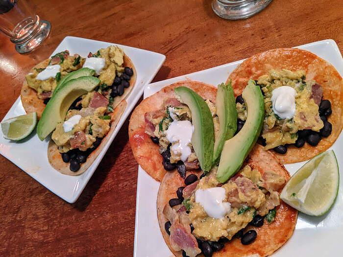 bacon & egg tostadas