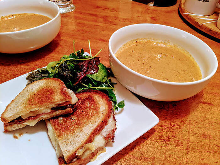 Grilled bacon & cheese sandwich, tomato soup
