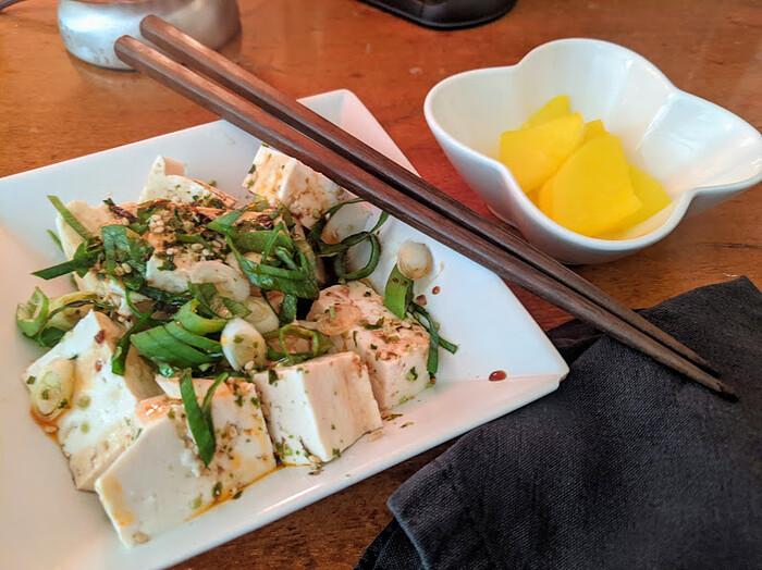 Tofu salad and pickled radish