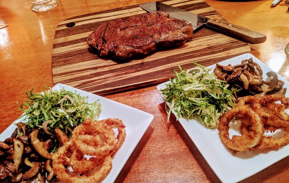 reverse seared steak rings shrooms frisee salad