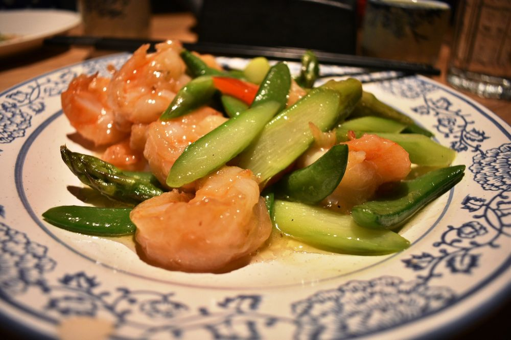 Prawns with Sweet Peas. Lots of jumbo shrimp, very flavorful.