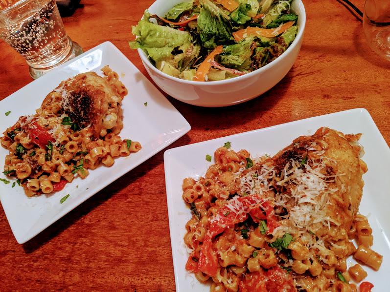 chicken tomato gravy pasta dinner 1