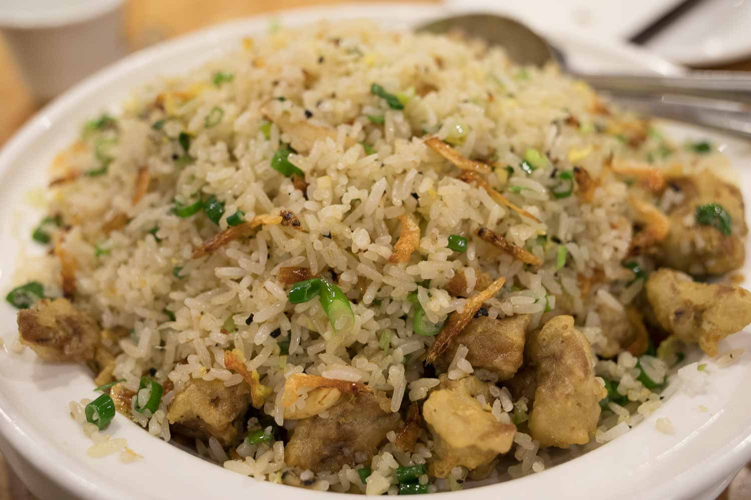 Daly city ca koi palace sf bay area california hungry onion foie gras truffle sakura shrimp fried rice i think it was 28 the star were the sakura shrimps who added a briny saltiness and savoriness to the fried ccuart Gallery